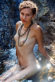 Bullet in Playing In Water by Angela Linin outdoor sunny river brunette shaved wet