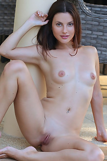 Jasmine Jazz in Sunning by Dave Lee indoor brunette hazel eyes shaved pussy custom
