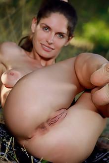 Yasmina in Fit Girl by Matiss outdoor woods brunette green e...