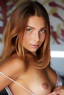 Belka in Slip Strip by Erro indoor brunette brown eyes boobies shaved ass pussy