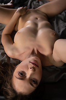 Emerald Ocean in For You by Nudero indoor brunette green eyes boobies shaved pussy fingering