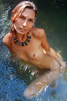Presenting Noelia by Angela Linin outdoor wet river waterfall brunette small tits shaved sunny