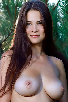Martina Mink in Pining by Matiss outdoor woods sunny brunett...