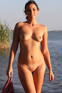 Presenting Lusee by Yann outdoor sunny brunette black hair brown eyes beach wet shaved tight ass pussy latest