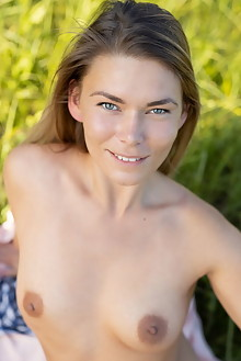 Paulina in Summer Picnic by Tora Ness outdoor sunny blonde b...