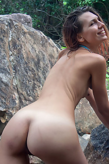 Noelia in One With Nature by Angela Linin outdoor woods sunny brunette shaved river tanned small tits