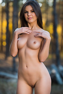 Zelda B in Lumberjill by Karl Sirmi outdoor woods sunny brunette brown eyes boobies shaved pussy custom