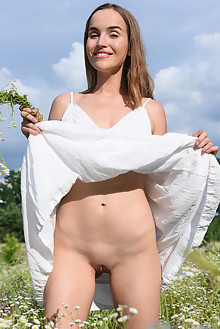 Eva Jolie in Organic by Fabrice outdoor sunny brunette brown eyes shaved pussy