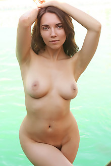 Danniela in Reflective by Rylsky outdoor sunny poolside brunette green eyes petite boobies hairy unshaven pussy ass