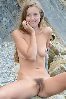 Geisha B in Speedster by Paramonov outdoor sunny beach blonde blue eyes hairy unshaven pussy
