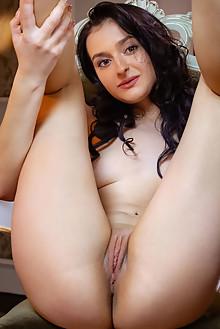 Anthea in Cinema by Albert Varin indoor brunette brown eyes boobies shaved pussy