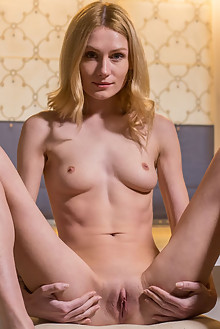 Gerda A in Creamed Shaving by Nick Twin indoor blonde blue eyes shaved