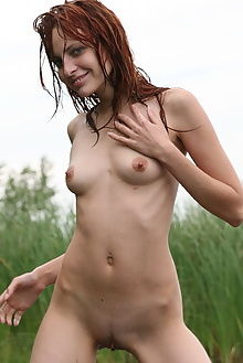 alyssa f one with nature rylsky outdoor redhead wet