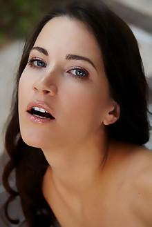 Lauren Crist in Corena by Erro outdoor brunette black hair blue eyes boobies shaved tight ass hips pussy custom latest