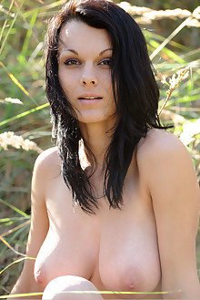 Inga E in Nostalgia by Fabrice outdoor sunny woods brunette black hair brown eyes boobies shaved pussy