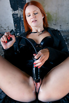 Ginger Z in Big Black by Higinio Domingo outdoor redhead shaved pussy dildo