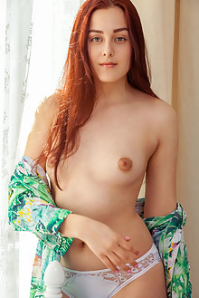 Presenting Olivia Honey by Albert Varin indoor redhead green eyes small tits shaved pussy