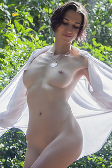 Presenting Alisa M by Angela Linin outdoor brunette river wet shaved