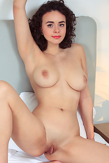 Presenting Arcadia by Albert Varin indoor brunette brown eyes boobies busty shaved pussy labia