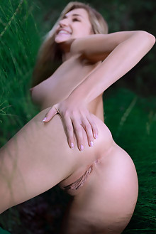 Christine Cardo in Nature Journey by Matiss outdoor blonde blue eyes boobies woods shaved ass hips pussy custom