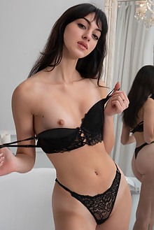 Presenting Corinna by Tora Ness indoor brunette black hair brown eyes small tits shaved