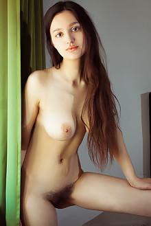 Adeline in Seduce by Albert Varin indoor brunette brown eyes boobies busty hairy unshaven bush pussy custom