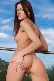 Kira Zen in Voliana by Luca Helios outdoor sunny brunette blue eyes trimmed pussy balcony custom