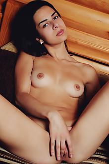 Beth C in Huerta by Arkisi indoor brunette black hair brown eyes shaved pussy boobies fingering latest