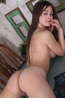 Sojie in Manicure by Koenart indoor brunette brown eyes boobies shaved pussy