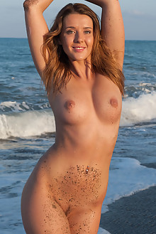 Sybil A in By The Beach by Ken Tavos outdoor beach sunny brunette green eyes boobies shaved pussy ass