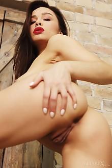 Astrid Herrara in Flirty Skirt by Flora indoor brunette shaved
