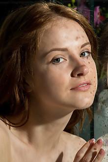 Alice May in Sebeza by Rylsky indoor redhead green eyes shav...