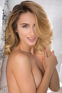 Cara Mell in Tetivo by Nudero indoor blonde blue eyes boobies trimmed pussy labia