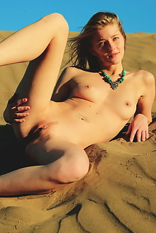 Mila I in Wild by Arkisi outdoor blonde blue eyes dunes beach sunny boobies shaved latest