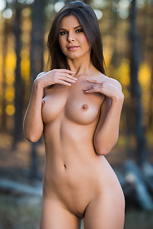 Zelda B in Lumberjill by Karl Sirmi outdoor woods sunny brunette brown eyes shaved pussy kabia