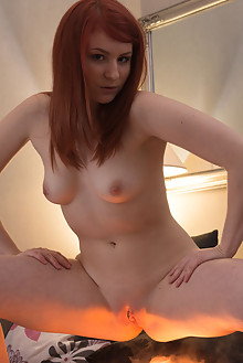 Milly in Light In The Dark by Shane Shadow indoor redhead shaved pussy fingering