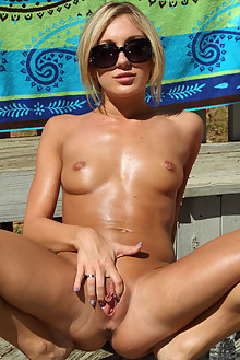Leighlani Red and Amy Brooke in No Tan Lines outdoor sunny poolside blonde shaved pussy toys