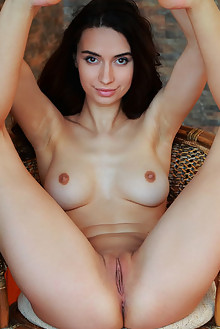 Dita V in Yonessi by Arkisi indoor brunette black hair brown eyes shaved pussy