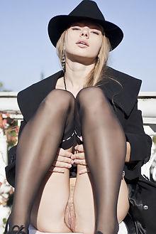 milena kiathe antares outdoor blonde blue shaved pussy public