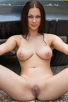 Marion in Car Wash by Koenart outdoor brunette blue eyes boobies busty shaved pussy ass custom