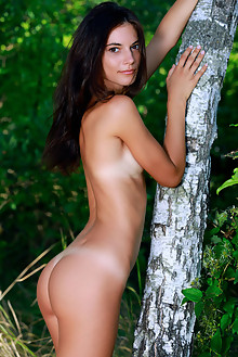 Aleksandrina in Impeccable by Matiss outdoor sunny woods brunette black hair brown eyes small tits tanned shaved pussy