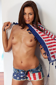 Michaela Isizzu in Americana by DeltaGamma indoor brunette blue eyes shaved pussy fingering 4th july