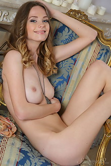 Irene in Smiling Girl by Thierry Murrell indoor brunette blue eyes boobies shaved