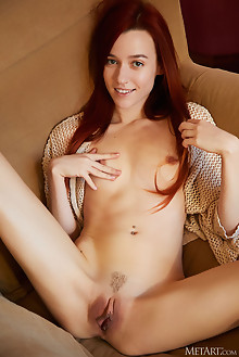 Sherice in Oversized Chair by Erro indoor redhead brown eyes small tits shaved pussy labia custom