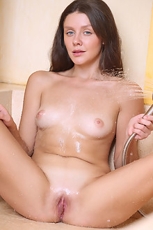 Tina Reese in Shower Spray by Dave Lee indoor brunette blue ...