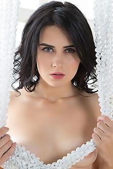 Mona in Setea by Nudero indoor black hair green eyes boobies shaved pussy custom latest