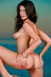 Yasmina in Vacation Vibe by Matiss outdoor sunny seaside brunette green eyes shaved pussy
