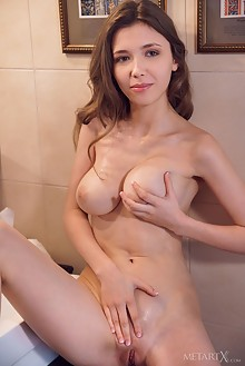Mila Azul in Rubbing Art by Alex Lynn indoor brunette green eyes boobies busty shaved pussy fingering ass
