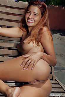 Presenting Agatha Vega by Arkisi outdoor sunny poolside latina redhead brown eyes boobies shaved pussy wet custom