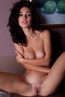 Helen H in Hethae by Albert Varin indoor brunette black hair brown eyes boobies shaved pussy ass